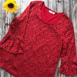 Cato red lace dressy blouse